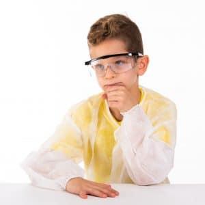 תחפושת מדען או מדענית – חלוק, משקפי מגן, מבחנות וכפפות